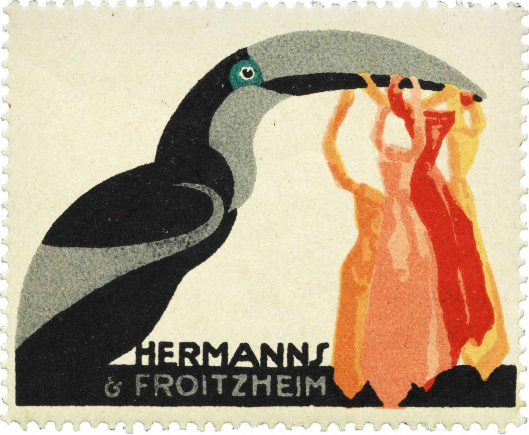 Reklamemarke der Firma Hermanns & Froitzheim, die einen Tukan zeigt.  Der Vogel trägt bunte Krawatten im Schnabel.