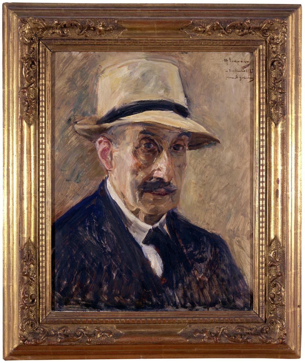 Gemälde eines älteren Mannes im Anzug und Strohhut