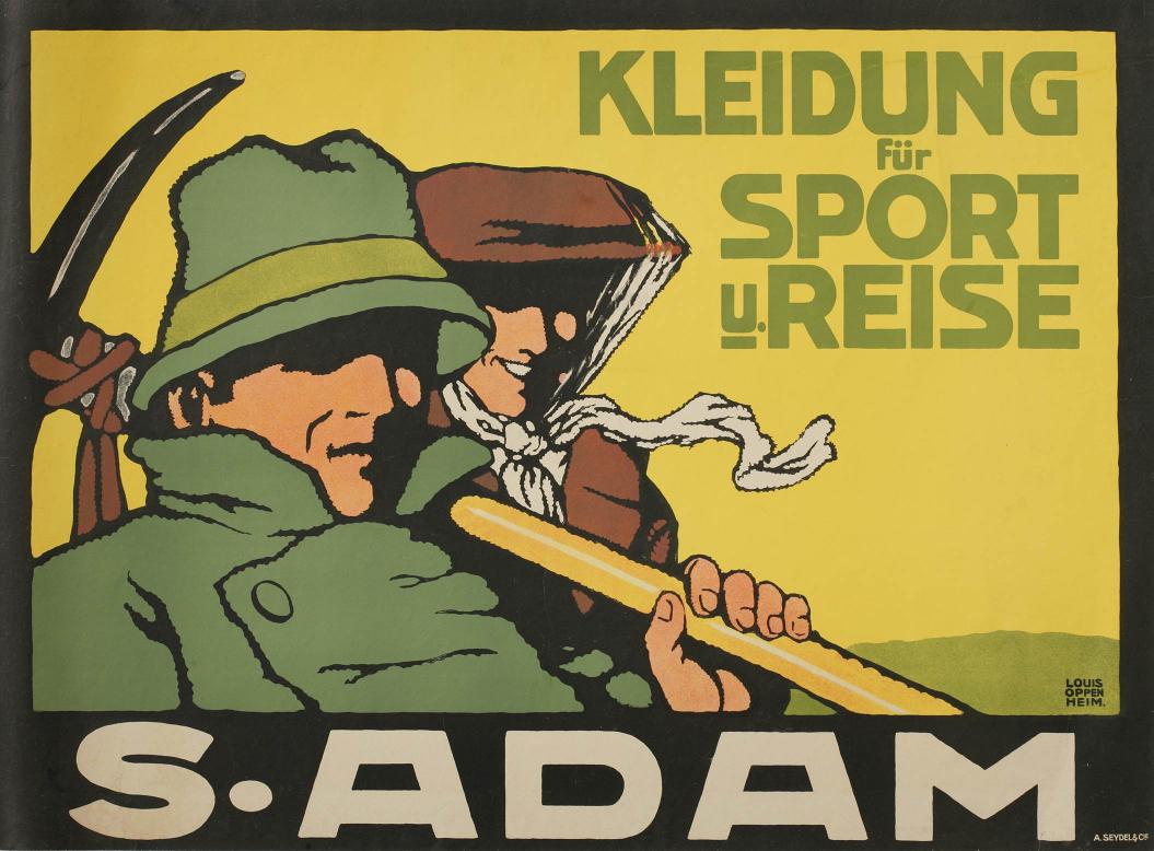 Farblithografie: Louis Oppenheim, Werbeplakat für S. Adam