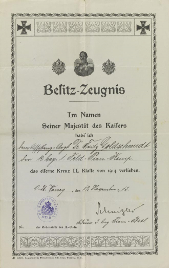 Decorative certificate with Iron Cross, Prussian eagle, and portrait of Wilhelm II, pre-printed, filled out by hand