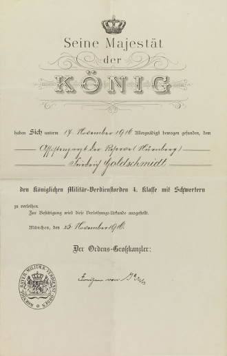 Decorative certificate, printed, filled out by hand, postmarked