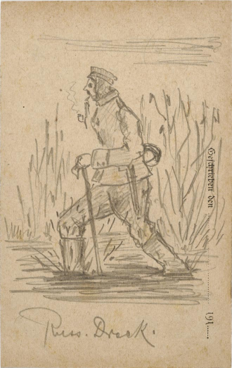 Drawing, graphite: soldier in uniform wades through a swamp smoking a pipe with vegetation in the background