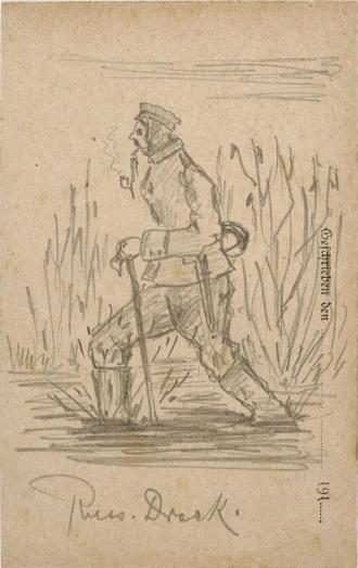 Zeichnung, Bleistift: Uniformierter Soldat watet Pfeife rauchend durch einen Sumpf, im Hintergrund Gebüsch