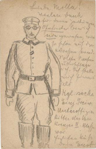 Zeichnung, Bleistift: Soldat (Kniestück, frontal, stehend) mit Ordensband am zweiten Knopfloch der Uniformjacke