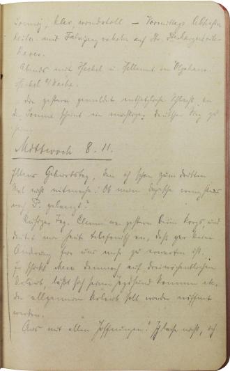 Tagebuchseite, handschriftlich