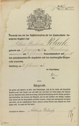 Schmuckurkunde mit dem Hamburger Wappen, Vordruck, handschriftlich ausgefüllt