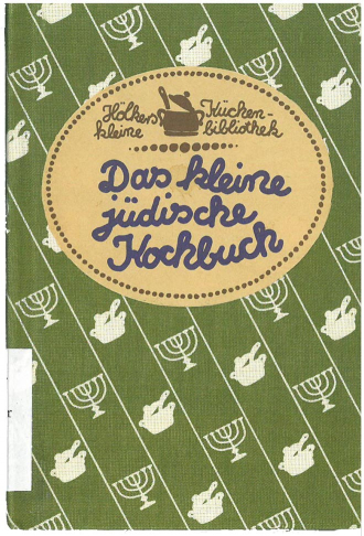 Green book cover with a pattern of menorahs and cooking pots