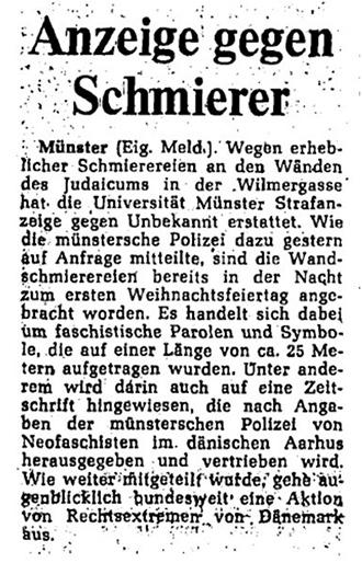 Zeitungsartikel mit der Überschrift »Anzeige gegen Schmierer«