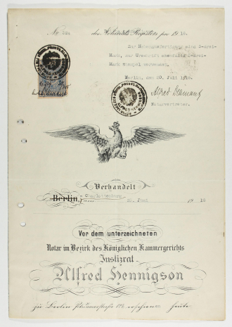 <page of adoption agreement with Prussian eagle, postage stamp, and rubber stamps