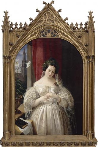 Gemälde von Albertine Mendelssohn-Bartholdy in verziertem Goldrahmen
