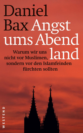 "Book Cover ""Angst ums Abend land"", a silhouette of a tall pointed roofs in front of a bright orange sky"