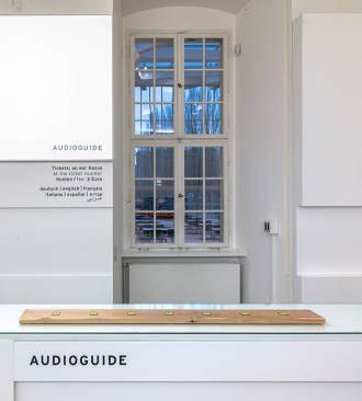 Audioguide counter in the foyer of the Jewish Museum Berlin