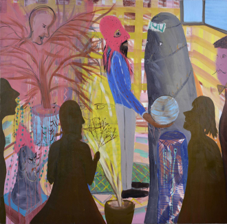 Shai Azoulays painting <cite>Golem</cite>: in the center, a man wearing a red hat is holding a blue ball