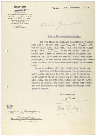 Brief mit Finanzamt-Briefkopf, maschinenschriftlich, Durchschlag mit handschriftlichen Ergänzungen