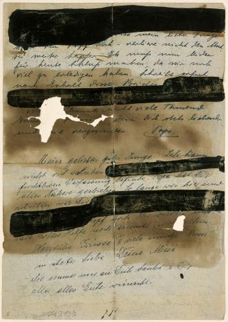 Brief mit geschwärzten Abschnitten