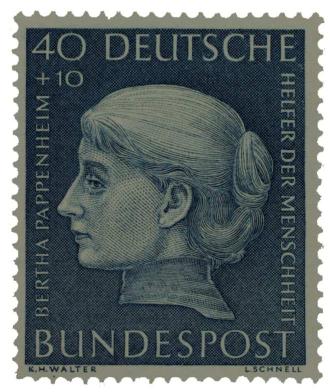 Briefmarke mit Frauenkopf im Profil mit der Aufschrift »40 + 10 Deutsche Bundespost, Bertha Pappenheim, Helfer der Menschheit«