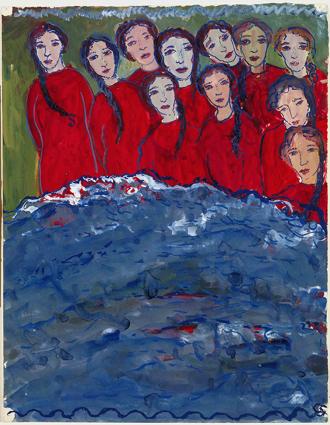 Gemälde, auf dem mehrere Mädchen in roten Oberteilen vor blauem Wasser zu sehen sind