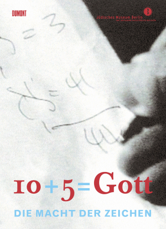 "Cover of ""10+5=Gott"", cover image is a close up of a hand writing numbers"