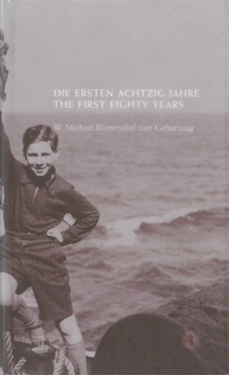 "Book Cover of ""The First Eighty Years"": historical black and white photograph of a young boy standing by the sea"