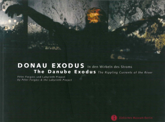 "Catalogue Cover for the exhibition ""The Danube Exodus"": dark abstract photograph of a man holding his arms up"