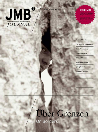 "Cover of ""On Borders"", Journal one: a face is peering through a crack in a concrete wall"