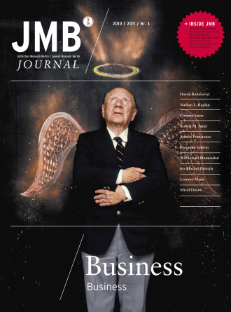 "Cover of ""Business"", Journal Three: an old man wearing a business suit and tie with his arms crossed and looking at the sky, a pair of angels winds and halo have been drawn around him"