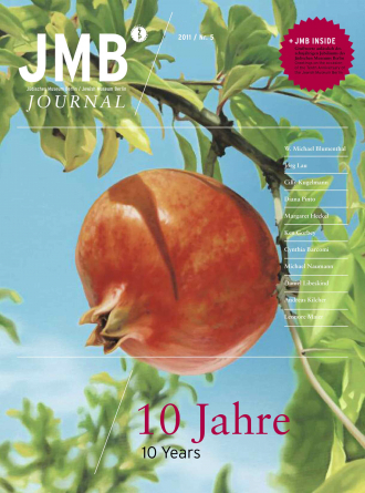 "Cover of ""10 Years"", Journal Five : illustration of a pomegranate attached to a tree branch"