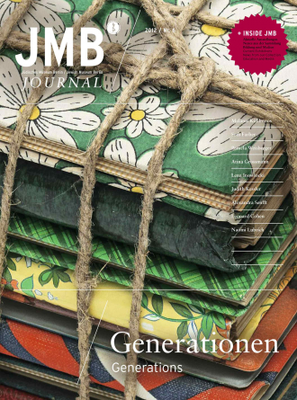 "Cover of ""Generations"", Journal Six: a multicolored and multi-patterned stack of journals is tied up with string"