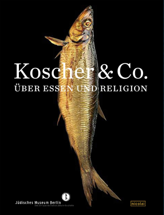 """Book Cover of """"Kosher & Co."""": a shiny fish with a black background"""