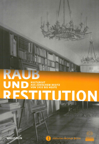 "Catalogue Cover for the Exhibitoin ""Raub und Restitution"": black and white photograph of a library with large chandeliers"
