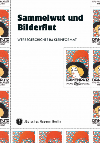 "Bok Cover of ""Sammelwut und Bilderflut"": multiple small illustration of a portrait of a woman wearing a large feathered hat"