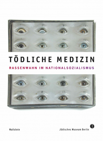 "Catalogue Cover for the Exhibition ""Tödliche Medizin"": sculpture of multiple different eyes labeled with numbers"