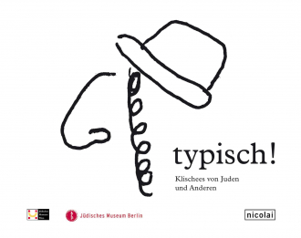 """Catalogue Cover for the Exhibition """"typisch!"""": Illustration of a thick line drawing of a minimalistic profile of a man wearing a hat and Payot"""