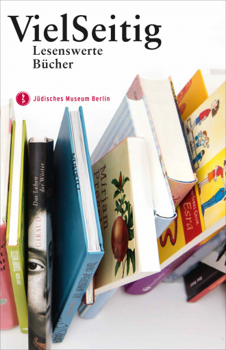 """Brochure Cover of """"VielSeitig"""": a row of colorful books"""