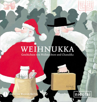"Catalogue Cover for the Exhibition ""Weihnukka"": illustration of a man dressed as Santa walking past a man wearing Orthodox Jewish clothing"