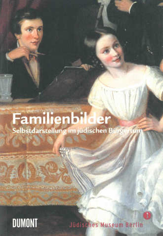 "Book Cover of ""Familienbilder"": historical painting of a smiling young woman wearing a white dress"