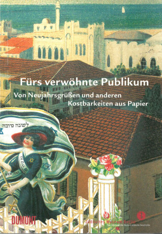 "Book Cover of ""Fürs verwöhnte Publikum"": painting of a woman holding a very long flag of Israel infront of the rooftops of buildings"