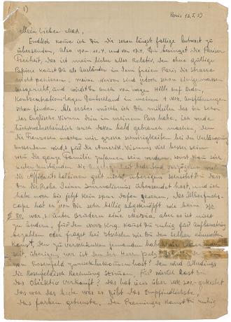 handschriftlicher Brief: vergilbtes Papier mit eng beschriebenen Zeilen