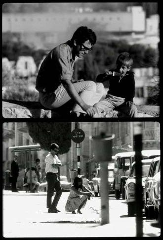 Two film stills: A man and a boy sitting next to each other; A woman is perched on the sidewalk, with her back to a man standing behind her
