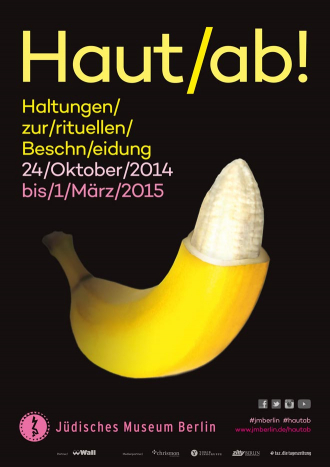"Poster for the Exhibit ""Snip it!"", a graphic of a banana with the peel of the tip cut off floats in front of a black background"