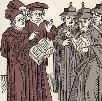 Bild von Gelehrten mit Talar und Hut und Büchern in der Hand