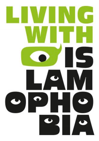 Schriftzug Living with Islamophobia
