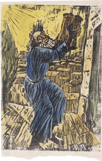 Woodcut showing a bearded man who holds up a Torah scroll and dances with it