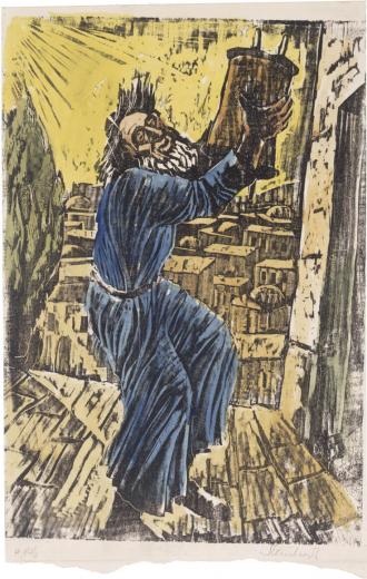 Holzschnitt, der einen bärtigen Mann zeigt, der eine Torarolle in die Luft hebt und mit ihr tanzt