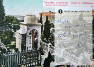 "Postcard on which is written ""Make hummus not war"""