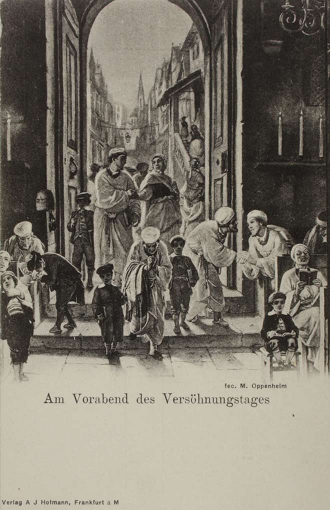 Lithography: Through the entrance door to the synagoge, we see Jews meeting for services.