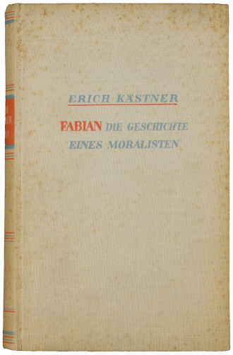 Book cover: bound in linen, inscribed with author, title and subtitle in red and light blue lettering