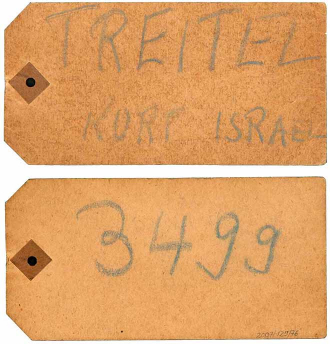 "Cardboard labeled with chalk reading ""Treitel Kurt Israel,"" and the number ""3499"" on the back"