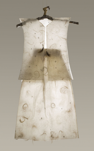 A dress maide from Japanese paper, hair, dirt, film and threads