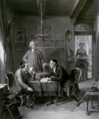 Historical Drawing of three men sitting at a table discussing with eachother